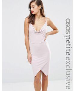 ASOS PETITE | Асимметричное Облегающее Платье Со Свободным Воротом Спереди Черный