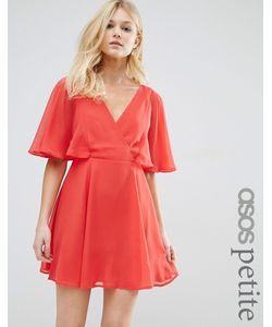 ASOS PETITE | Платье Мини С Запахом Спереди И Рукавамикимоно Мульти