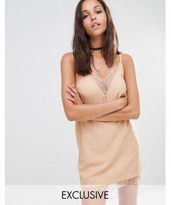 MISSGUIDED | Платье-Комбинация С Кружевной Отделкой Телесный