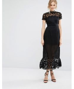 Foxiedox   Платье Миди С Ажурным Кружевом Elodie Черный