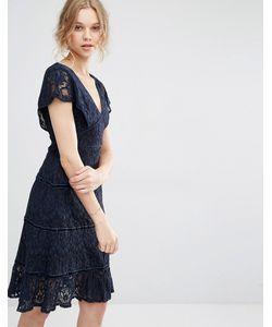 Foxiedox | Кружевное Платье Миди С Глубоким V-Образным Вырезом Темно-Синий