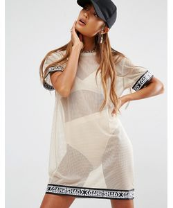 SHADE London | Полупрозрачное Сетчатое Платье-Футболка Кэмел