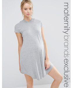 Club Lounge Maternity   Трикотажное Oversize-Платье С Капюшоном Серый
