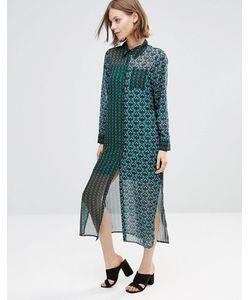 Style London | Длинное Платье-Рубашка С Принтом Зеленый Многоцветный