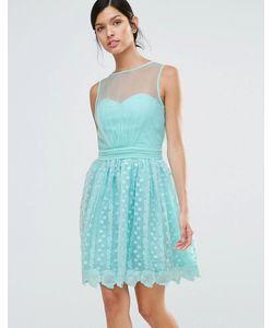 Little Mistress | Кружевное Короткое Приталенное Платье Зеленый