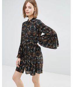 Style London | Свободное Платье С Расклешенными Рукавами Черный Мульти