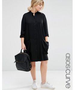 ASOS CURVE   Платье-Рубашка С Драпированными Карманами