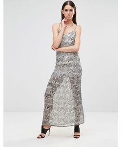 Twin Sister | Шифоновое Платье Макси На Бретельках Zebra