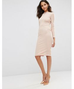 Asos | Облегающее Платье В Рубчик С Контурными Швами Телесный