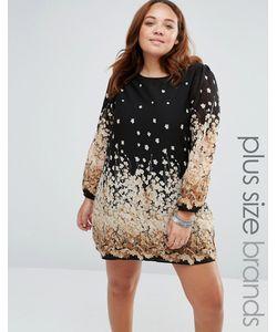 Yumi Plus | Цельнокройное Платье Размера Плюс С Цветочным Принтом Черный