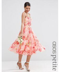 ASOS PETITE   Платье Миди С Лифом Бандо И Цветочным Принтом Wedding