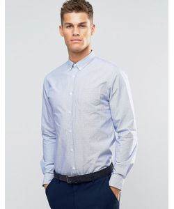 Silver Eight   Белая Рубашка Узкого Кроя Из Ткани Добби Sliver Eight Синий