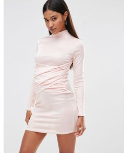 Club L | Облегающее Платье С Высоким Воротом И Запахом Спереди