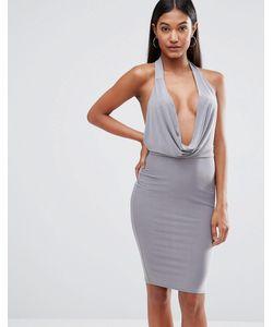 Club L | Облегающее Платье С Высокой Горловиной Серый