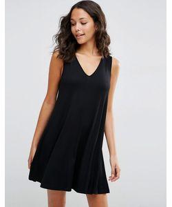 Asos | Свободное Платье Без Рукавов С V-Образным Вырезом Черный