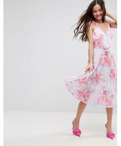 Asos   Плиссированное Платье Миди Из Крепа С Цветочным Принтом