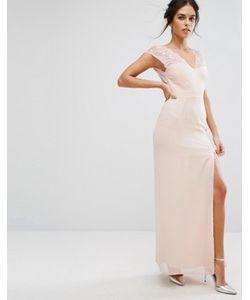 Elise Ryan | Платье Макси С Кружевной Отделкой И V-Образным Вырезом