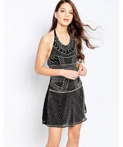 Glamorous | Платье С Халтером И Отделкой Бисером Черный С Отделкой