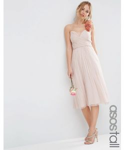 ASOS TALL | Платье Миди Со Сборками И Цветочной Отделкой На Плече