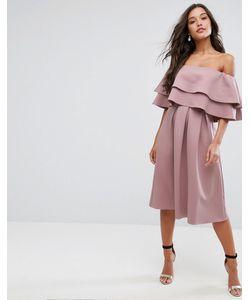 Asos | Платье Миди С Открытыми Плечами И Оборками
