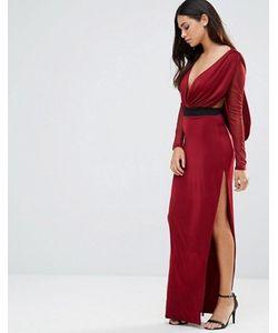Hedonia | Платье Макси С V-Образным Вырезом Прозрачными Рукавами И Контрастным Поясом