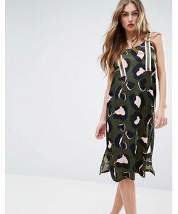 Asos | Платье-Комбинация В Стиле Сарафана С Анималистическим Принтом