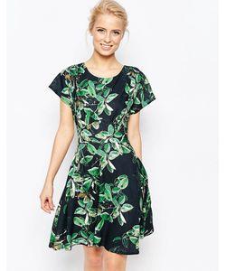 Closet   Платье С Завязкой Сзади И Лиственным Принтом