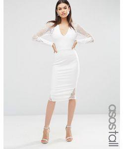 ASOS TALL | Платье Миди С Длинными Рукавами И Кружевом Кремовый