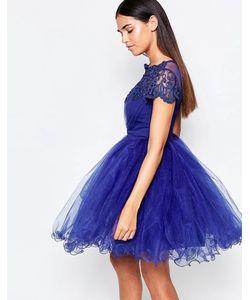 Laced In Love | Синее Платье Для Выпускного Из Кружева И Сеточки