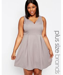 Koko | Приталенное Платье С Вырезом Сердечком Plus Нежно-Серый