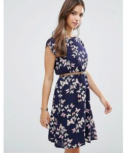 Yumi | Платье С Принтом Бабочек Темно-Синий