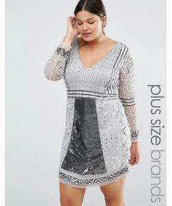 Lovedrobe Luxe | Цельнокройное Платье С Длинными Рукавами Серебряный