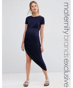 Club Lounge Maternity | Платье Макси В Рубчик Для Беременных С Короткими Рукавами Club Lounge