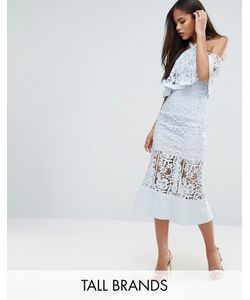Jarlo Tall | Кружевное Платье Миди С Открытыми Плечами