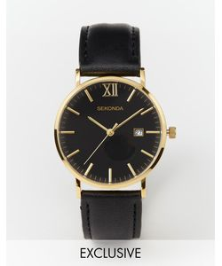 Sekonda | Gold Detail Black Leather Strap Watch Exclusive To Asos