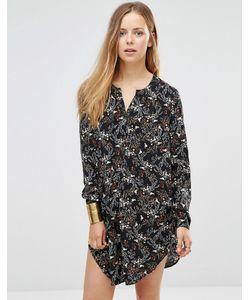 Only | Удлиненная Рубашка С Разрезами По Бокам И Принтом Черный