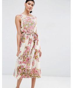 Asos | Мягкое Платье Миди С Цветочным Принтом И Отделкой Salon