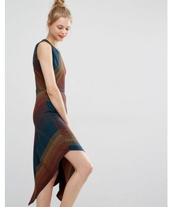 BCBGMAXAZRIA | Асимметричное Платье Миди Из Жаккардовой Ткани В Горошек Bcbg Max Azria