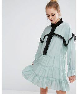 Sister Jane | Свободное Платье С Рюшами Синий