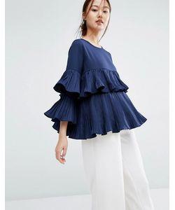 Zacro | Блузка С Плиссированными Оборками Темно-Синий
