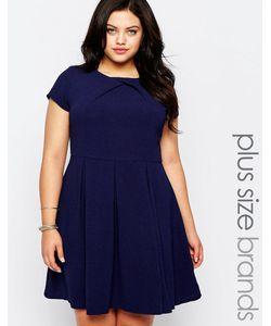 Koko | Короткое Приталенное Платье С Плиссированной Юбкой Plus Темно-Синий