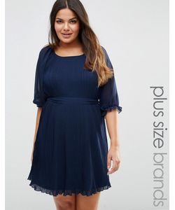 Koko | Плиссированное Платье С Поясом Plus Темно-Синий