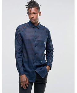 Asos | Темно-Синяя Удлиненная Рубашка В Клетку С Рукавами Реглан Темно-Синий