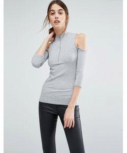 Vero Moda | Топ В Рубчик С Вырезами На Плечах И Молнией