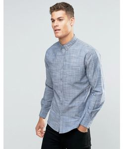 Silver Eight | Sliver Eight Plain Blue Flannel Smart Shirt In Slim Fit
