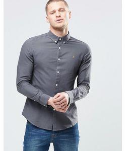 Farah | Серая Оксфордская Рубашка Узкого Кроя Однотонная Серая