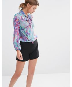 Closet | Блузка С Длинными Рукавами Бантиком И Цветочным Принтом