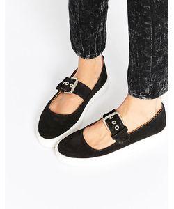 YRU | Обувь На Плоской Подошве Chill Mary Jane Черный Замшевый