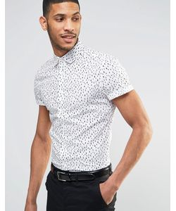 Asos | Зауженная Рубашка С Принтом Капель Белый