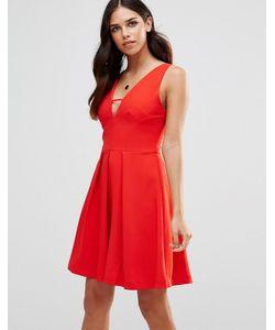 Adelyn Rae | Короткое Приталенное Платье С Глубоким Vобразным Вырезом Красный